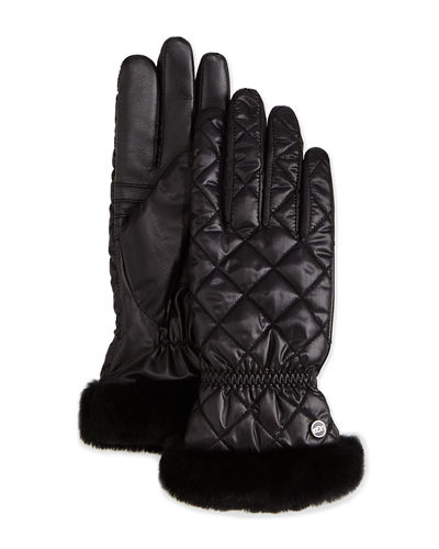 Ugg Quilted Gloves W Shearling Fur Cuffs