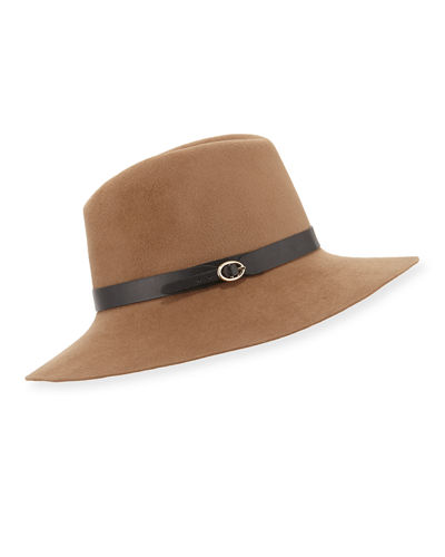 Leather-Strap Felt Fedora Hat