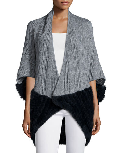 La Fiorentina Knitted Cocoon Cardigan w/Rabbit-Fur-Trim