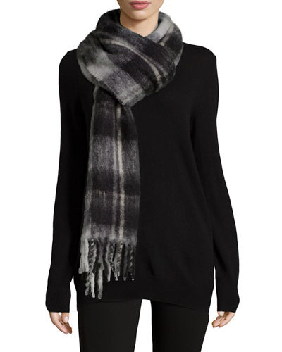 Blanket Plaid Knit Scarf