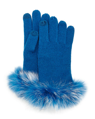 Sofia Cashmere Cashmere Tech Gloves w/Fox Fur Cuff