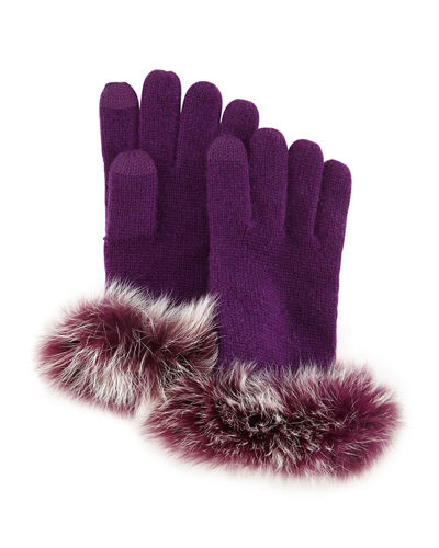Cashmere Tech Gloves w/Fox Fur Cuff