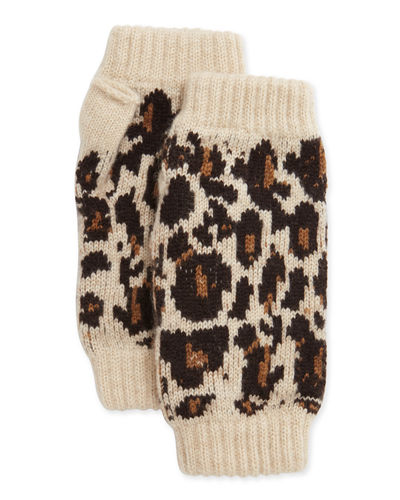 Cashmere Leopard-Print Fingerless Gloves