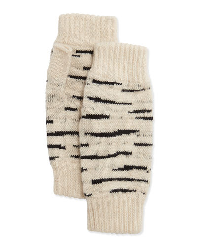 Cashmere Tiger-Stripe Fingerless Gloves