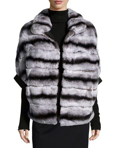 Rabbit Fur Zip-Front Jacket
