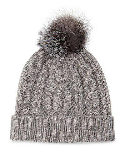 Cable-Knit Cashmere Beanie Hat w/ Fur Trim