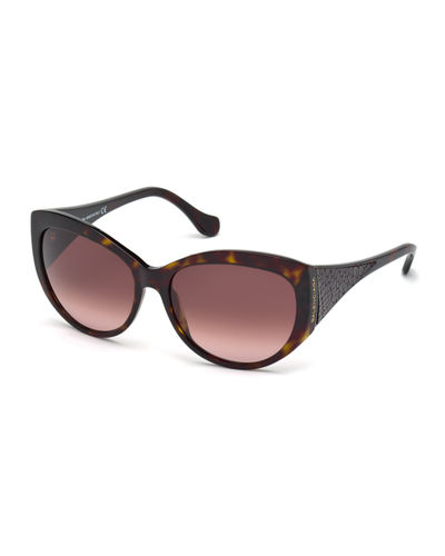 Balenciaga Leather-Temple Square Sunglasses