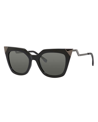 Plastic Frame Glasses Crooked : Fendi Iridia Mirror-Tip Cat-Eye Sunglasses