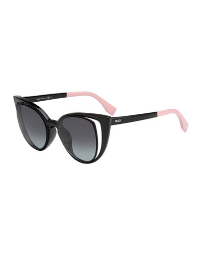 Fendi Paradeyes Open-Inset Square Cat-Eye Sunglasses