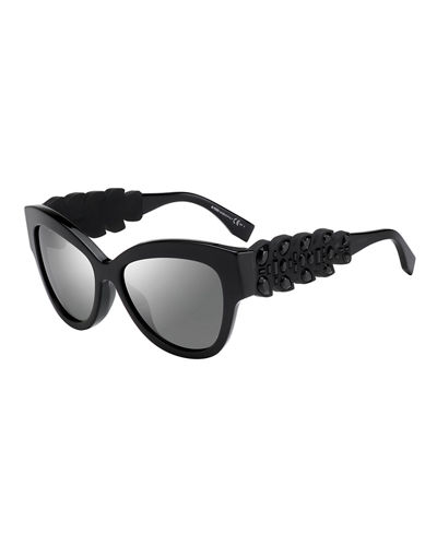 Rhinestone-Trim Cat-Eye Sunglasses