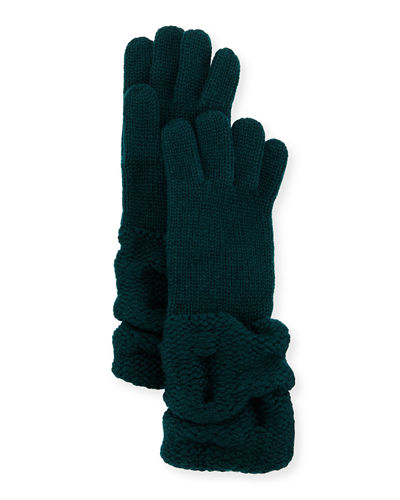 Il Borgo Cashmere Gloves w/Ruched Cuffs