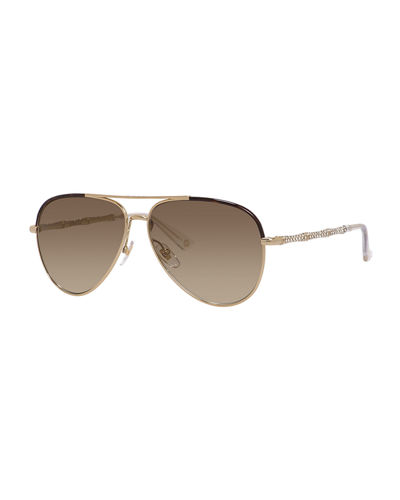 Gucci Etched Metal Aviator Sunglasses
