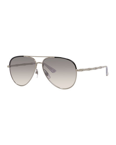 Etched Metal Aviator Sunglasses
