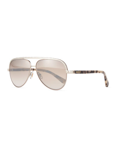 Jimmy Choo Lina Rhinestone Aviator Sunglasses