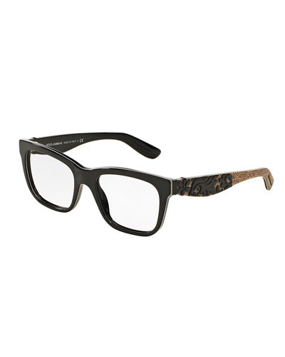 Dolce & Gabbana Square Floral-Trim Optical Frames