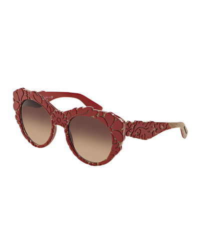 Dolce & Gabbana 3-D Floral Cat-Eye Sunglasses