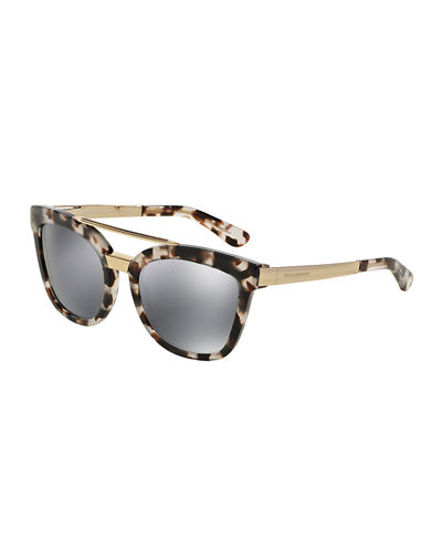 dolce gabbanasquare mirrored brow bar sunglasses