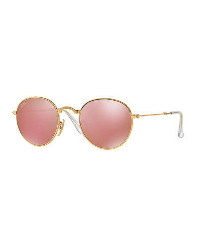 Ray ban etched round mirrored sunglasses for Miroir rose gold