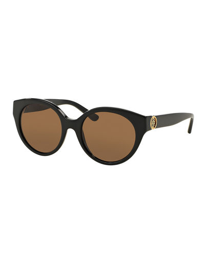 Rounded Logo-Temple Plastic Sunglasses