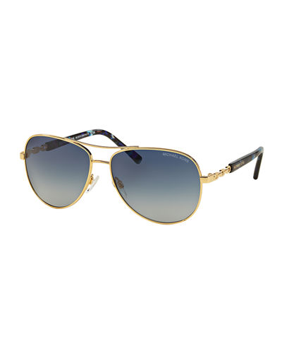 Michael Kors Gradient Chain-Link Aviator Sunglasses