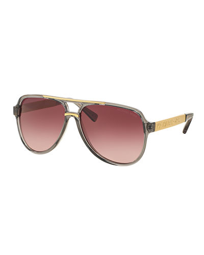 Michael Kors Gradient Metal-Arm Aviator Sunglasses