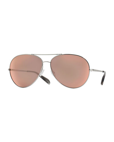 Oliver Peoples Sayer Oversized Mirrored Aviator Sunglasses