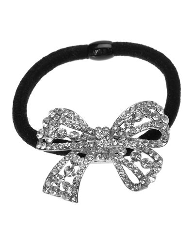 Rhinestone Bow Ponytail Holder