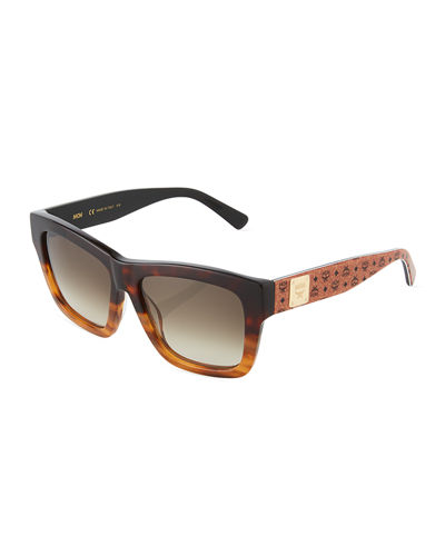 Printed Square Logo-Temple Sunglasses