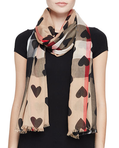 Check Heart-Print Voile Scarf