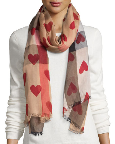 Burberry Check Heart-Print Voile Scarf