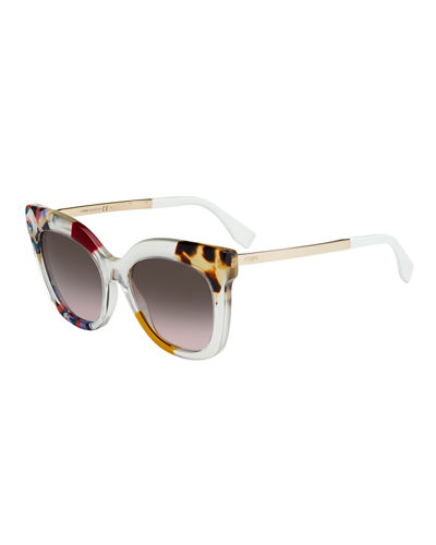 Printed Pointed Square Sunglasses