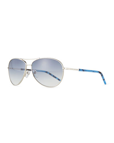 Metal Curved-Brow Aviator Sunglasses