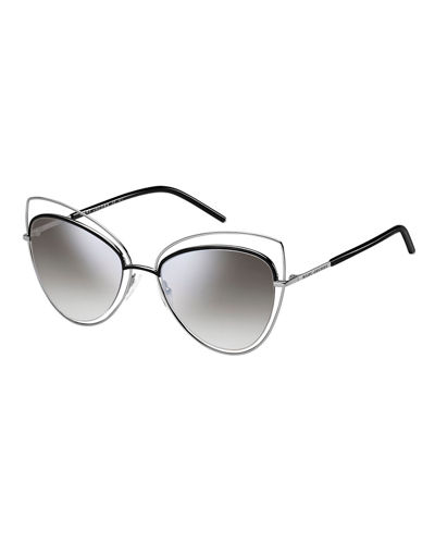 Wire-Rim Mirrored Cat-Eye Sunglasses
