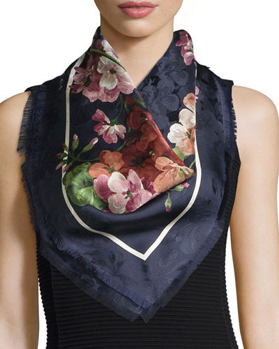 Gerabloom Jacquard Square Silk Scarf