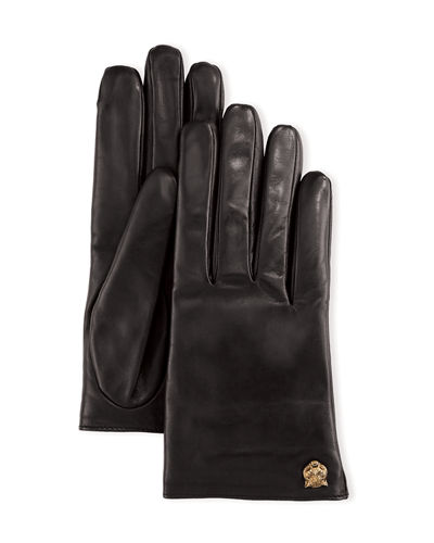Gucci Leather Tiger-Trim Gloves