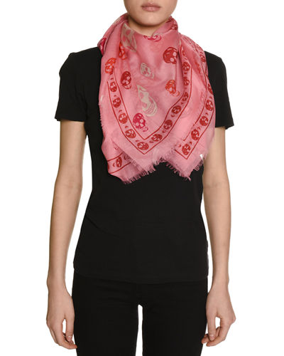 Voile Mixed-Skull Scarf, Pink/Red