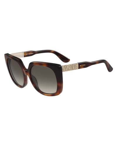 Oversized Square Paisley-Temple Sunglasses