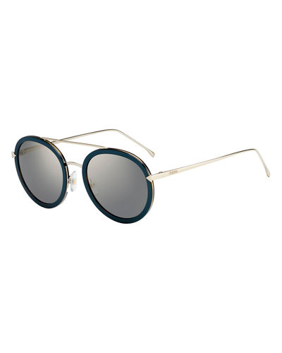 Trimmed Round Monochromatic Sunglasses, Black