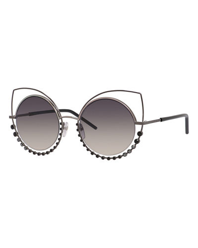 Metal-Rim Gradient Cat-Eye Sunglasses w/ Rhinestones