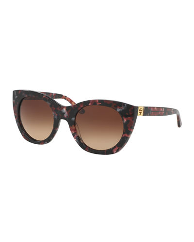 Rounded Cat-Eye Logo-Temple Sunglasses