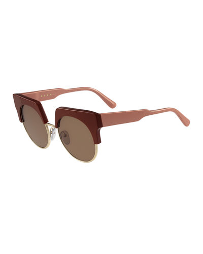 Square Semi-Rimless Two-Tone Sunglasses