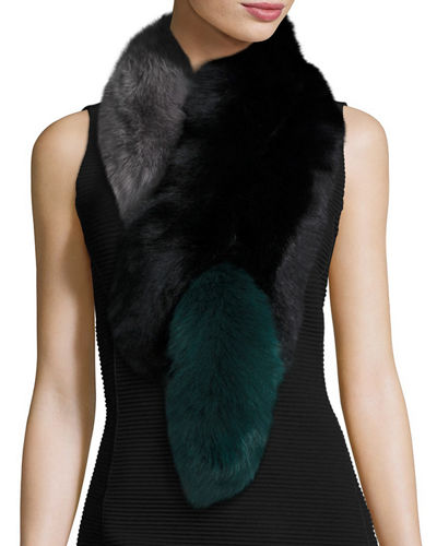 Charlotte Simone Popsicle Fox Fur Colorblock Scarf