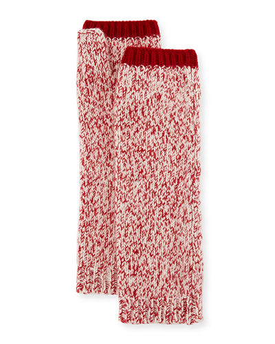 Marled Cashmere Fingerless Gloves/Arm Warmers, Red