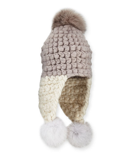 Chunky-Knit Wool Pompom Trapper Hat