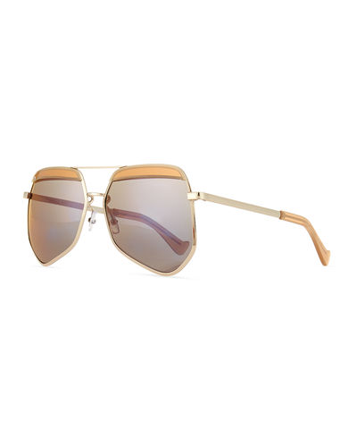Hexcelled Capped Monochromatic Sunglasses, Silver/ Green