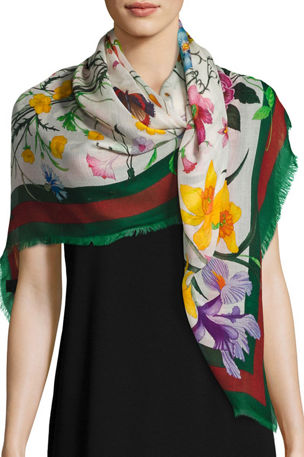 Gucci Flora Web Wool & Silk Shawl