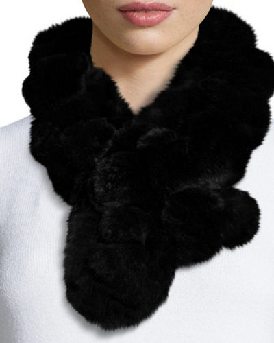 Belle Fare Rex Rabbit Fur Pompom Neck Warmer