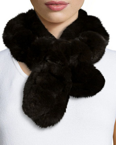 Rex Rabbit Fur Pompom Neck Warmer