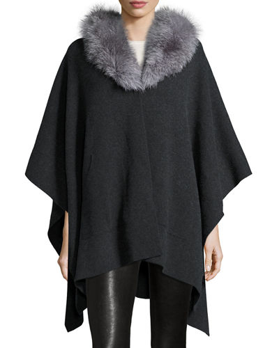 Sofia Cashmere Cashmere Cape w/ Fox Fur Collar