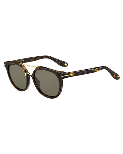 Givenchy Square Brow-Bar Acetate Sunglasses